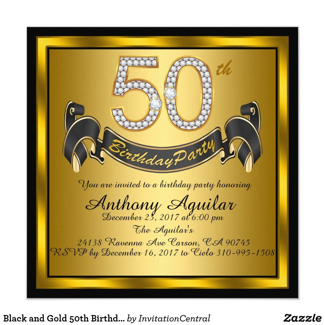 Black And Gold 50th Birthday Party Card