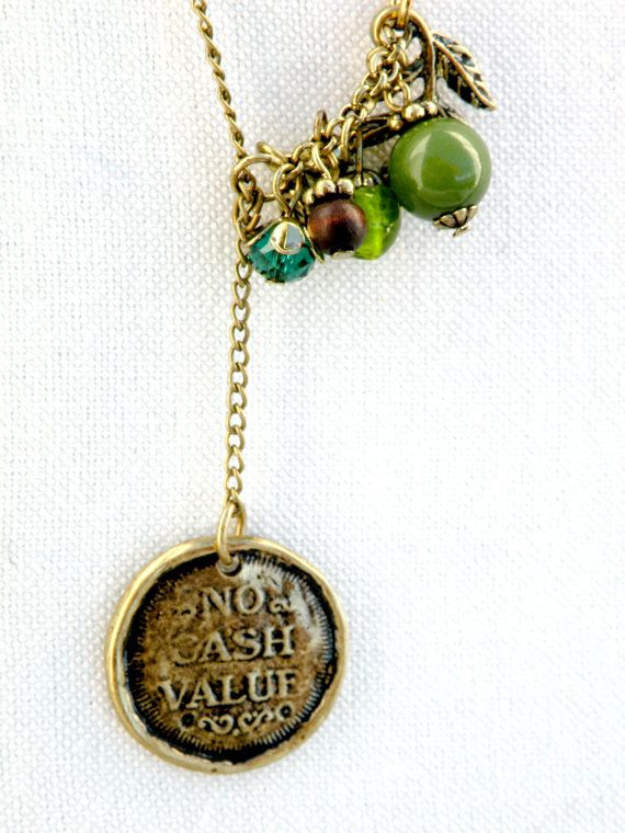 Good Luck Asymmetrical Necklace in green and brass, horse shoe, lucky charm necklace, green cluster on antique brass