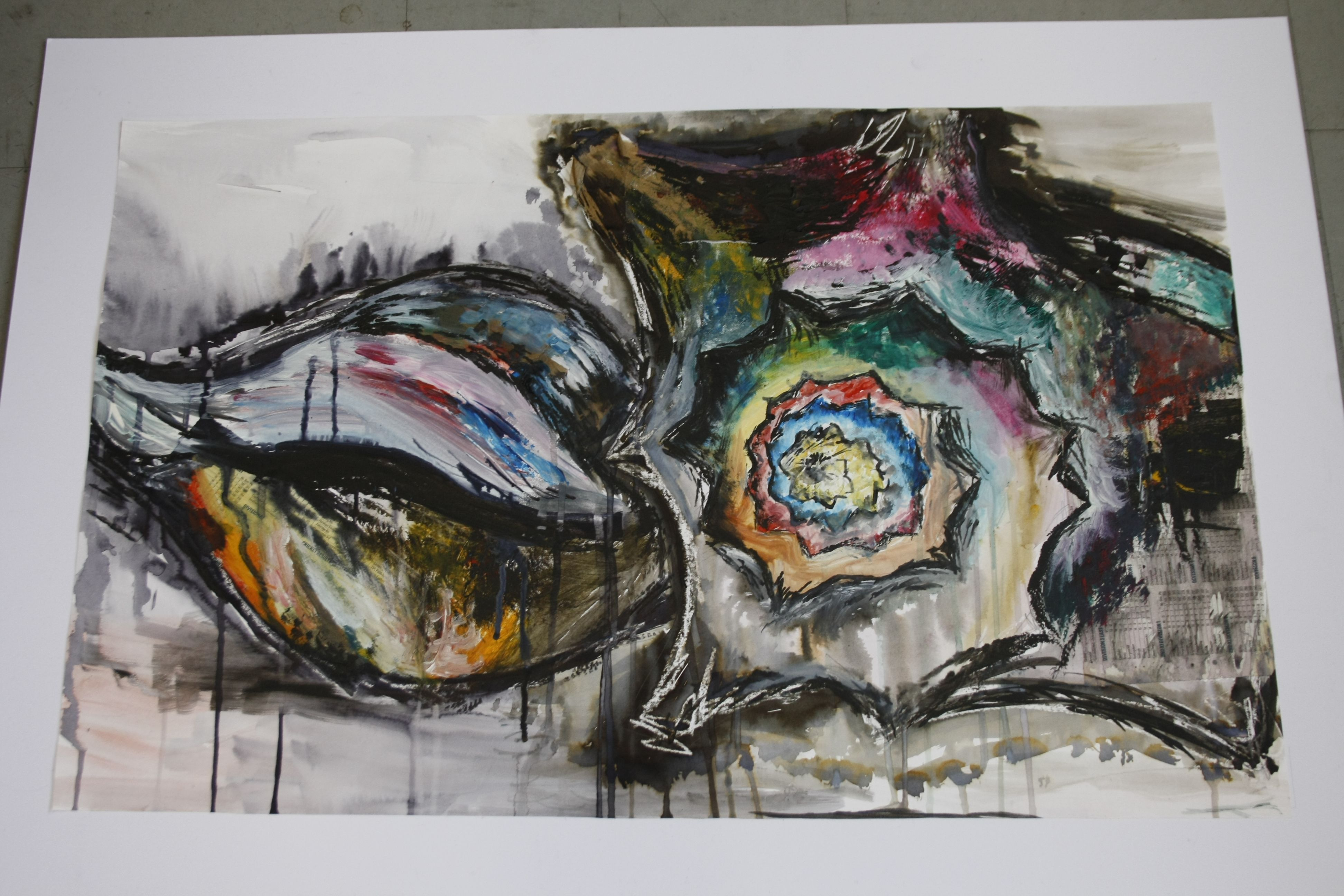 my final piece for our first drawing project  abstract  experimental mixed media shells using ink