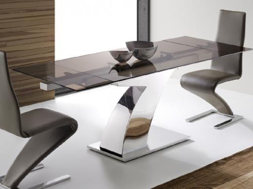 Elegante mesa de comedor en cristal fumé bronce y pie central de ...