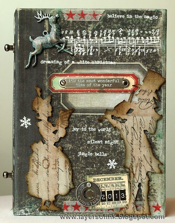 Layers of ink - December Daily Worn Journal, made for Simon Says Stamp Monday Challenge Blog, using Tim Holtz Composition Journal, Stampers Anonymous stamps, Sizzix dies and Idea-ology pieces.