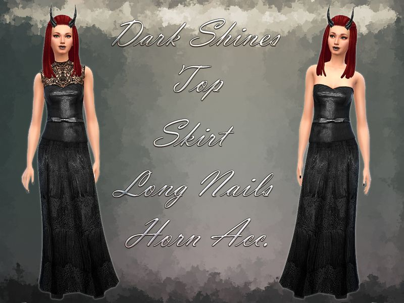 notegain's *Dark Shines Set* Top Skirt Nails Horns