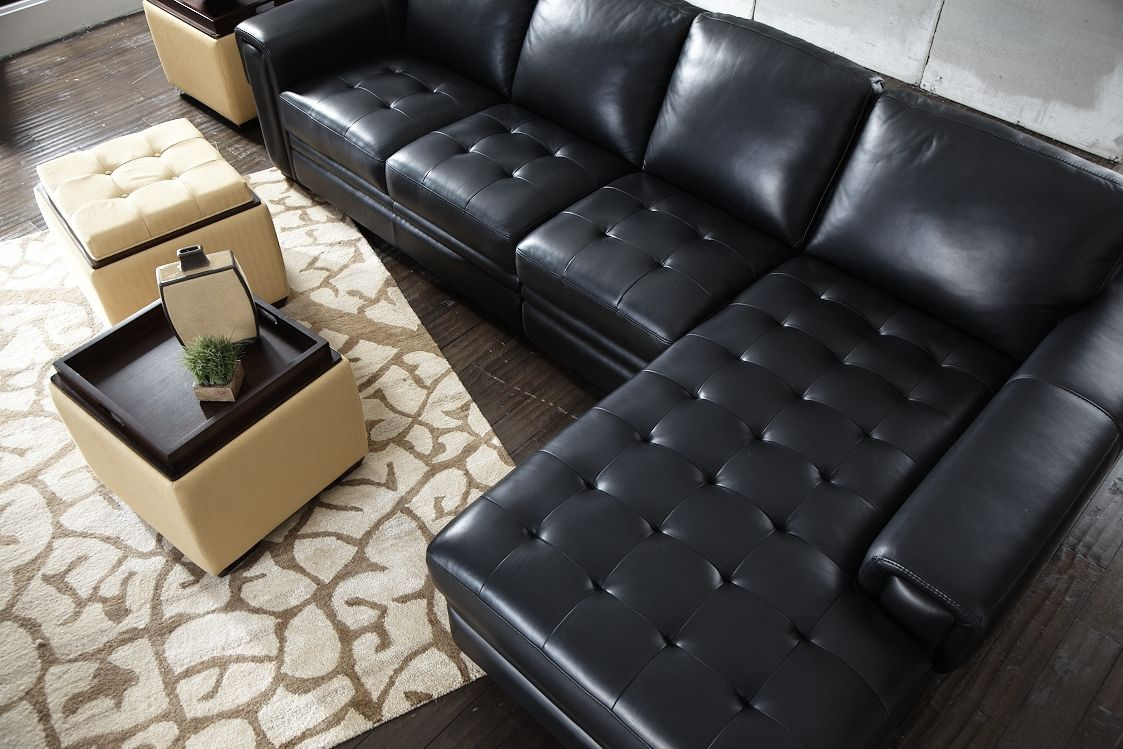 LaZBoy Zane Leather Sectional storage ottomans Home