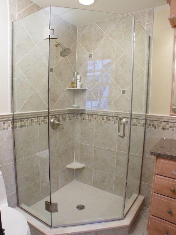 Tiled Neo Angle Shower Corner Shower For Small Bathroom