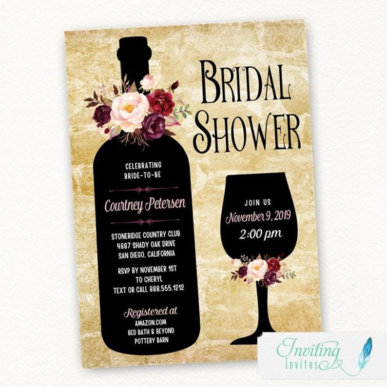 Wine Bridal Shower Invitation Wine Tasting Winery Wine Etsy Bridal Shower Wine Wine Bridal Shower Invitations Wine Themed Invitations