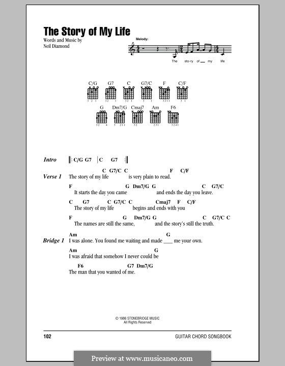 The Story Of My Life Lyrics And Chords With Chord Boxes By Neil