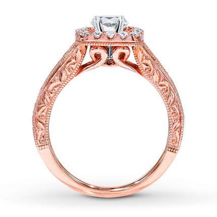 Diamond Ring Setting 1/2 ct tw Round-cut 14K Rose Gold