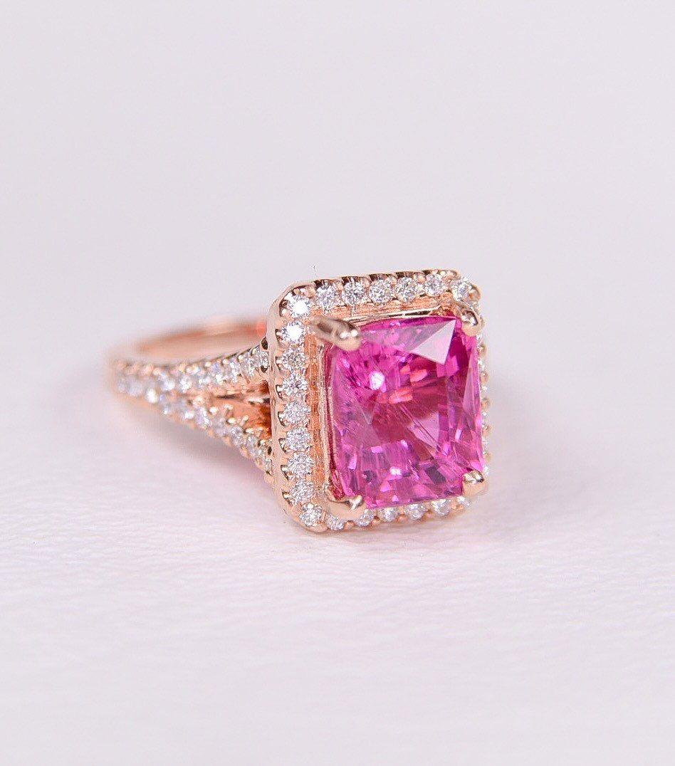 14K Rose gold rare hot bubblegum pink Tourmaline ring   Rings ...