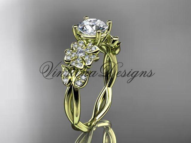 14kt yellow gold diamond Cherry Blossom flower, Sakura engagement ring VD10043