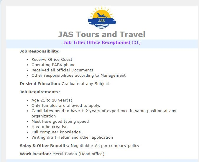 jas tours and travel office receptionist job circular vacancy - Office Receptionist Jobs