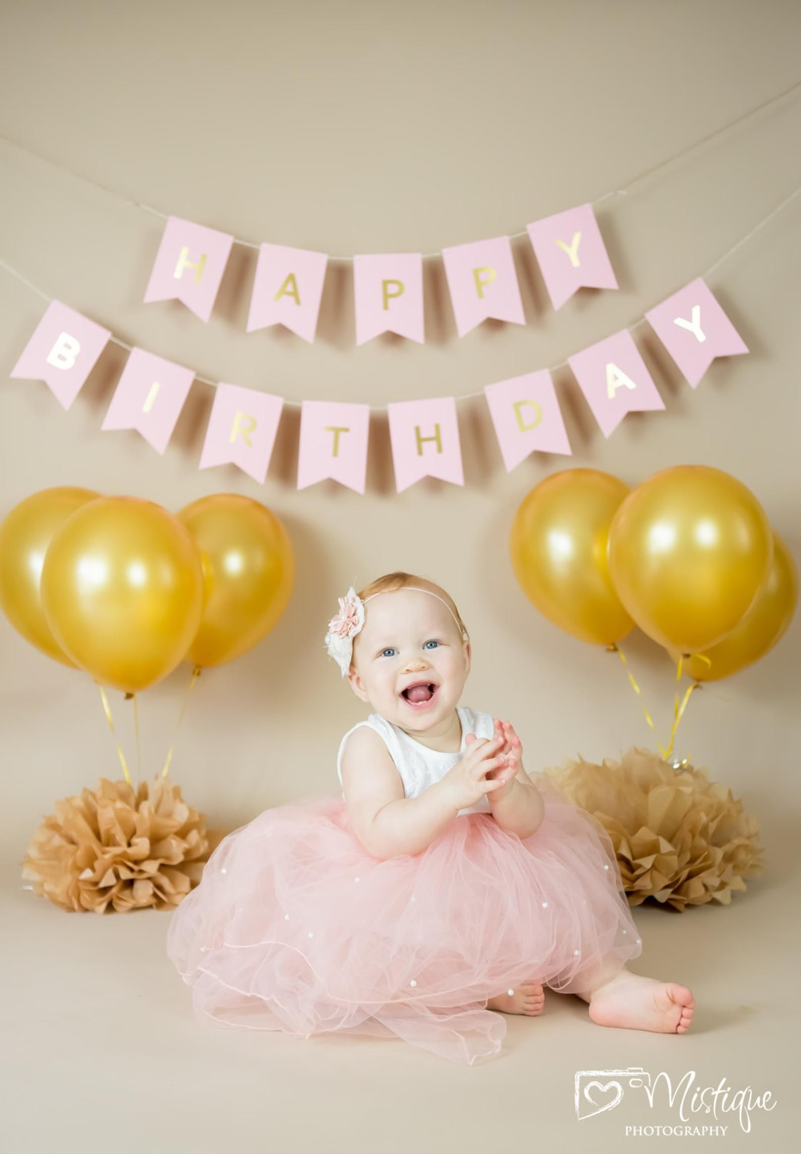 Pink and Gold Cakesmash Backdrop in 2020 Girl birthday