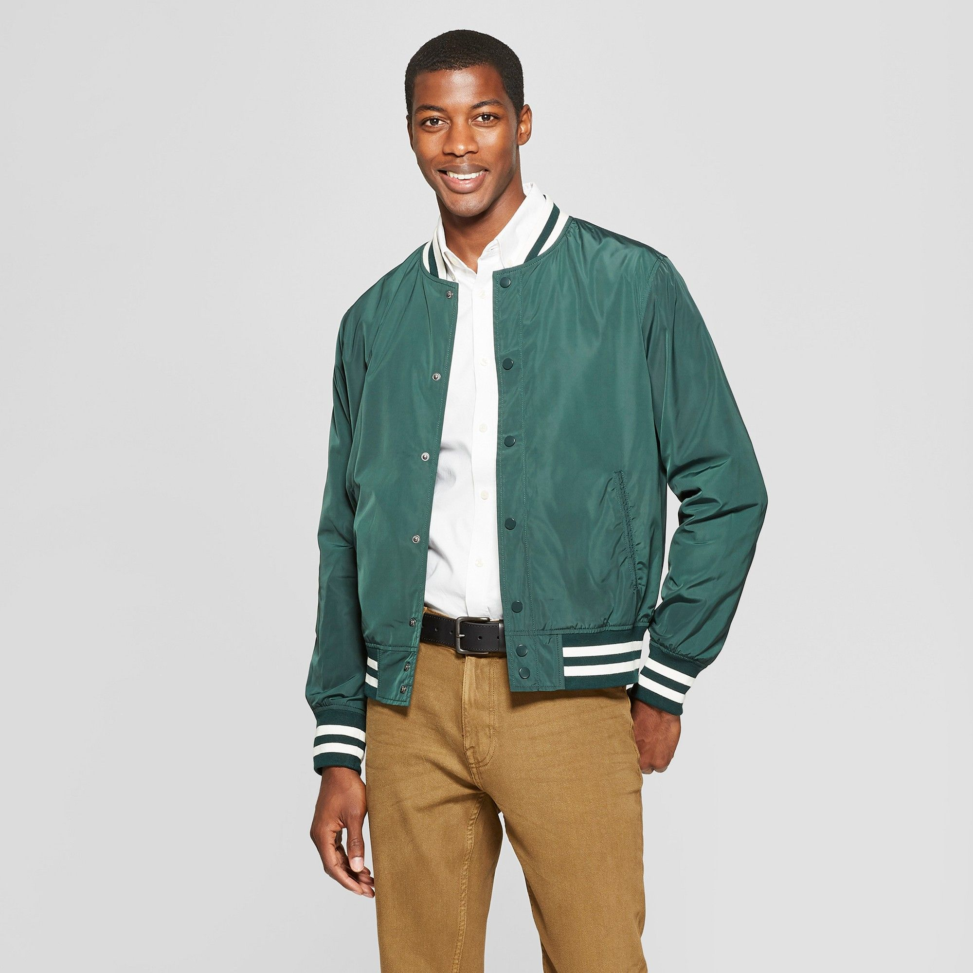 72dda767bf0 Men s Varsity Bomber Jacket - Goodfellow   Co Forest Green 2XL in ...