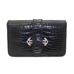 Judith Leiber Black Alligator Skin Clutch