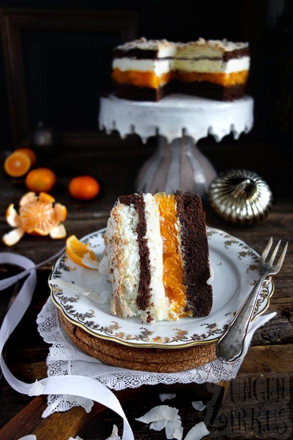 Kokosmakronen-Torte mit Mandarinen - Zungenzirkus