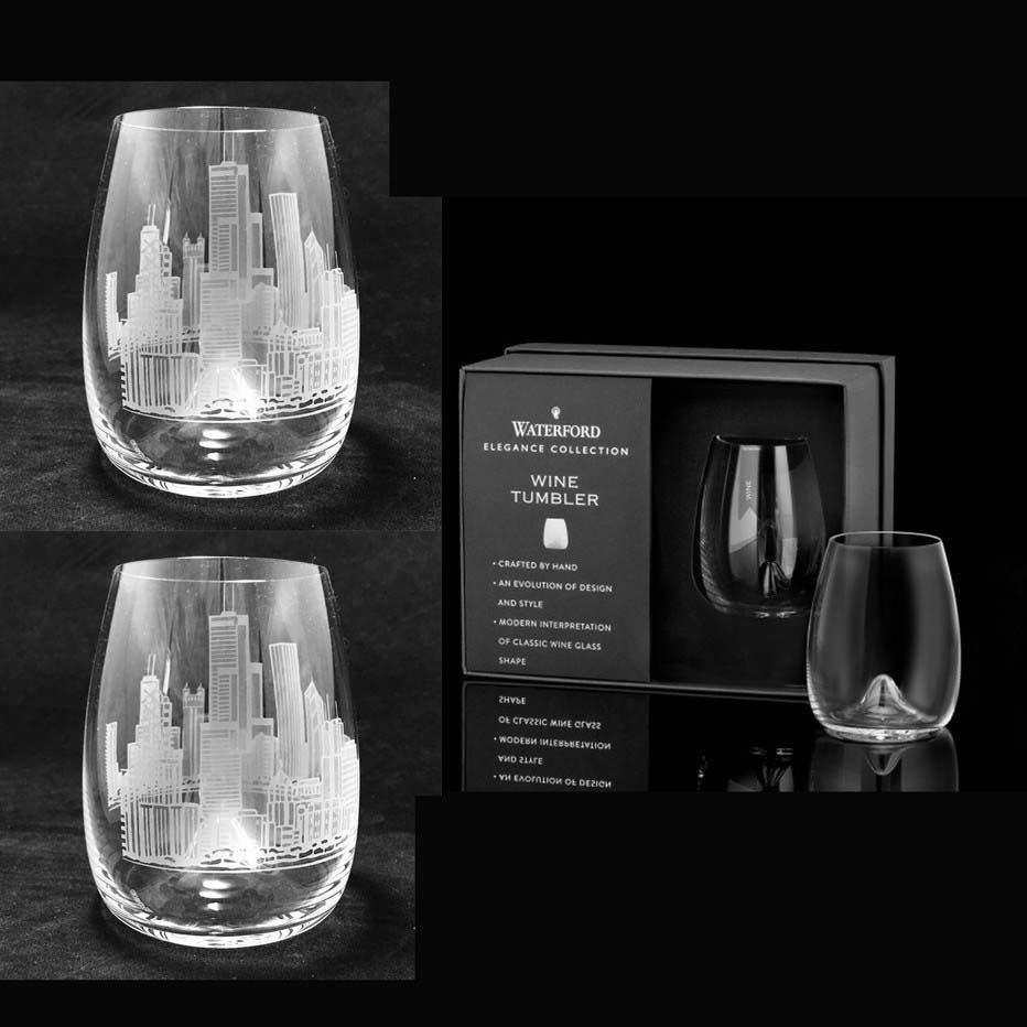 Enjoy your wine with this beautiful stemless wine glasses from Waterford, engraved with city skyline of your choice! Personalize glasses further - with personal quote, motto, names or whatever comes to your mind - we will make it happen!  At Crystal House we offer engraving of your image, logo and many more, for ideas please check out our facebook photo's section.  Happy Holidays!