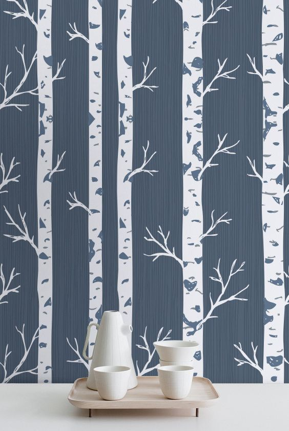 Birch Tree Wallpaper White Decal Wall Mural 271