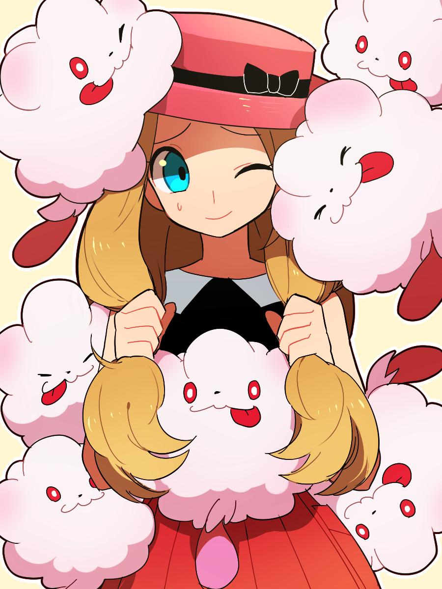 Anime Picture Search Engine Blue Eyes Cheek Press Hat Highres Li Sakura One Eye Closed Pokemon Pokemon Game Pokemon Xy Serena Pokemon Anime Pokemon Images