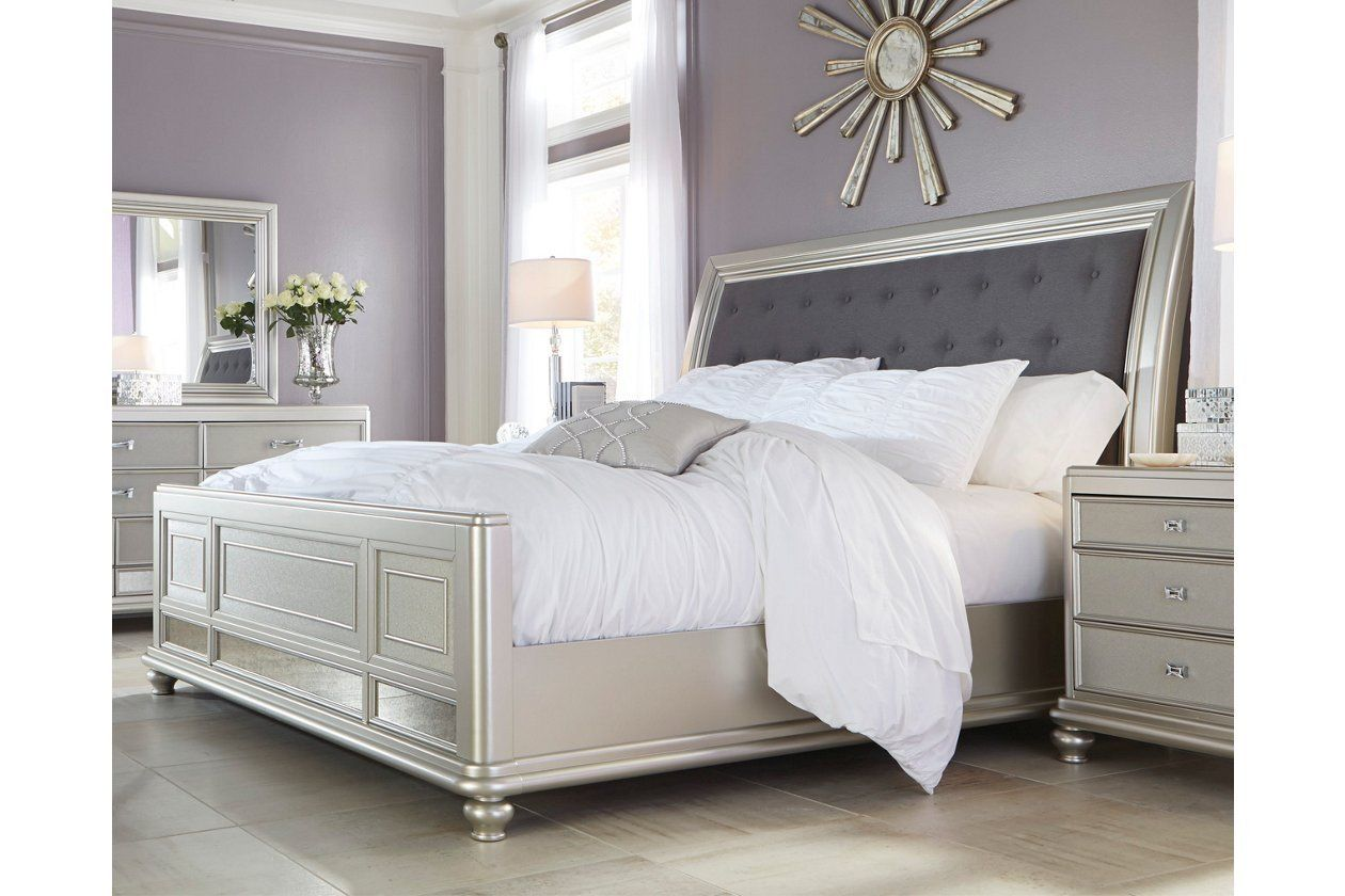 Ashley Furniture Silver Bedroom Set Coralayne Queen Upholstered Sleigh Bed In 2020 Upholstered Sleigh Bed Bedroom Set Queen Upholstered Headboard