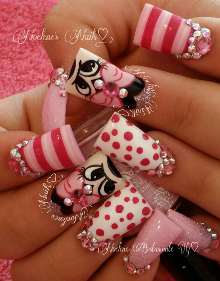 Minnie mouse nails | nails | Pinterest | Unas acrilicas, Arte de ...