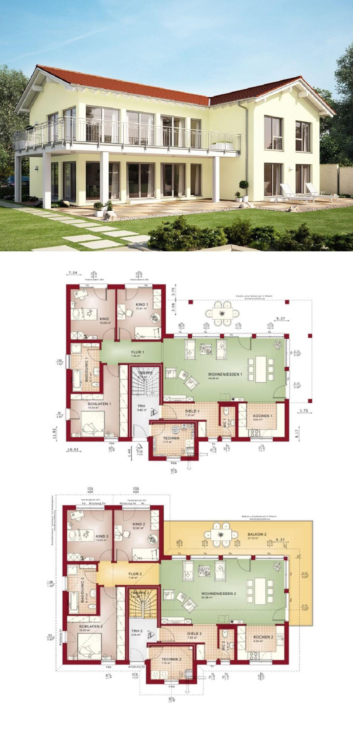zweifamilienhaus mit satteldach und einliegerwohnung haus grundriss celebration 282 v3 bien. Black Bedroom Furniture Sets. Home Design Ideas
