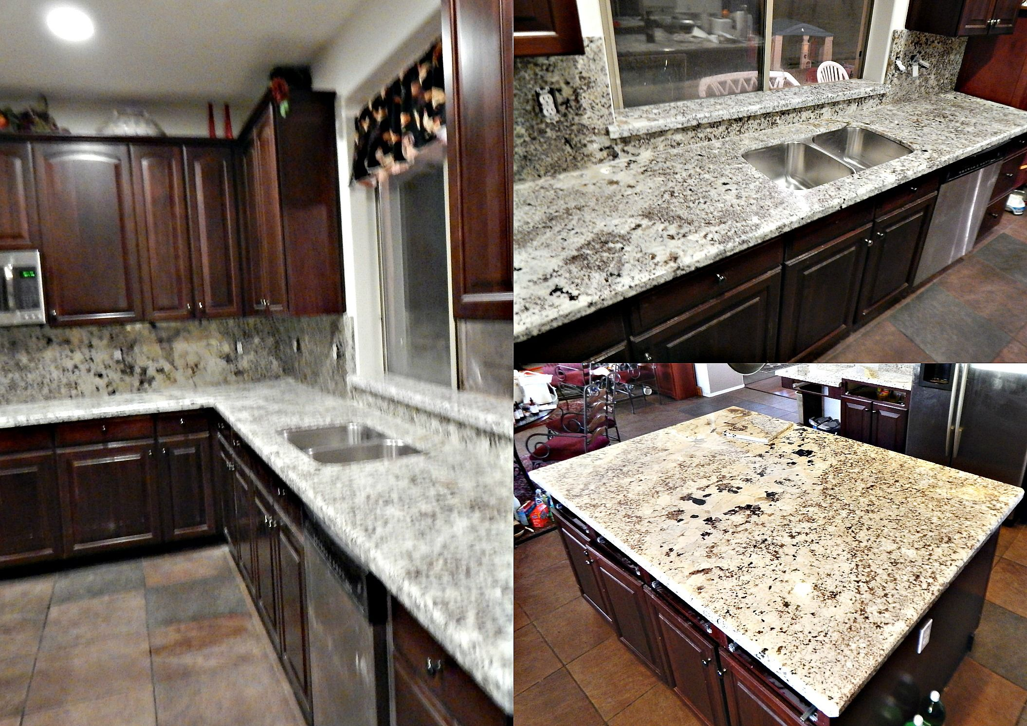 Countertop Remodel With Alaska Classic Granite, Top Bevel Edge, 50/50  Stainless Steel Under Mount Sink.