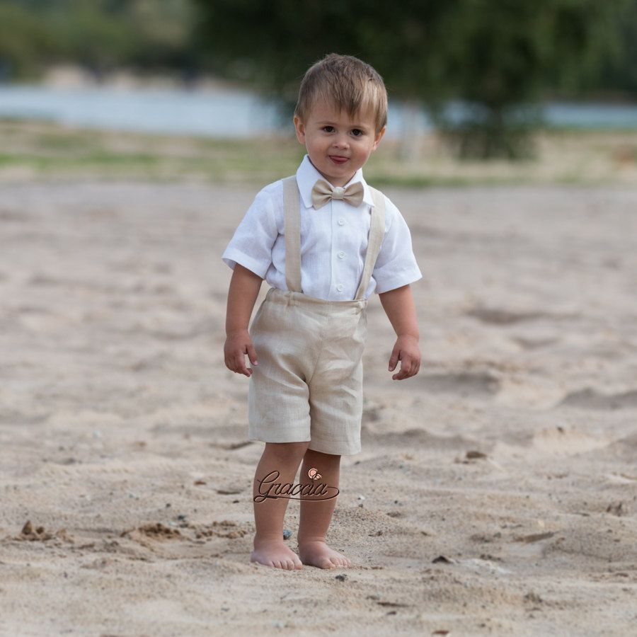 Ring bearer outfit Baby boy baptism clothes Boy linen suit First ...