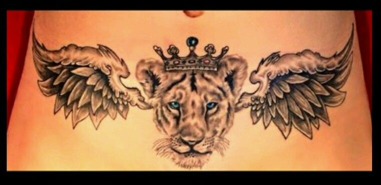 Lioness Tattoo With Wings And Crown Lower Tummy Black Wolf Tattoos Belfast Female Lion Tattoo Chest Piece Tattoos Lioness Tattoo