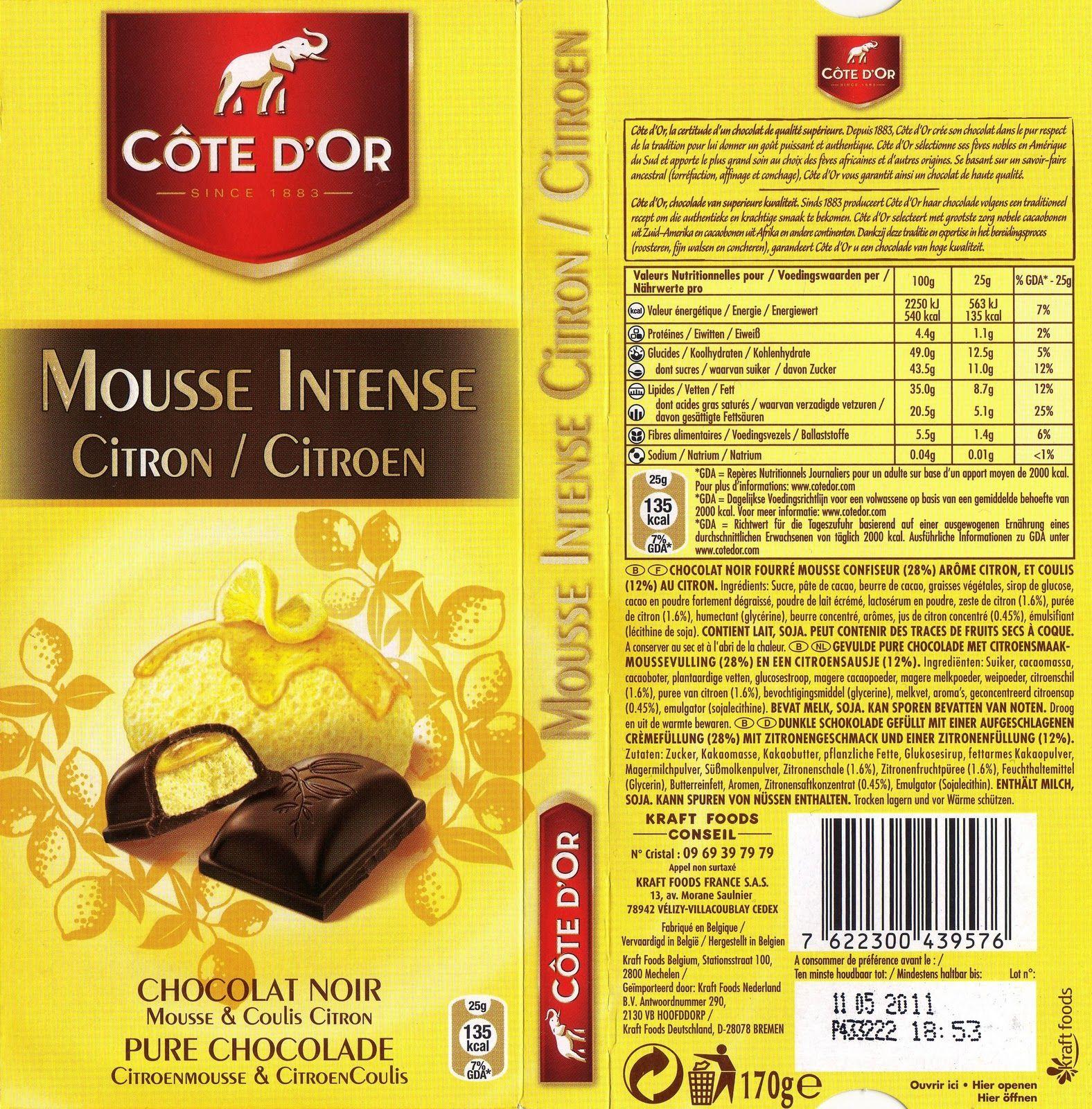 tablette de chocolat noir fourré côte d'or mousse intense citron