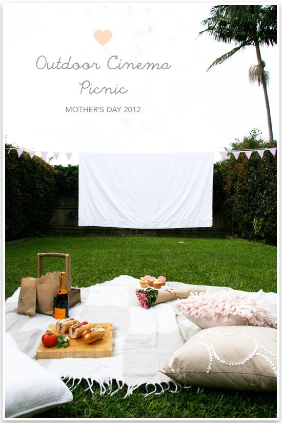 DIY Mothers Day Outdoor Cinema Picnic is part of Outdoor cinema, Diy movie screen, Cinema party, Backyard movie, Backyard diy projects, Cinema idea - Happy Monday Pretty Fluffies! As promised I've got a stellar week lined up all in time for Mother's Day 2012  Whether you're a mum, a daughter, a fur parent or someone who just plain likes holidays, this project has something for everyone  Throughout the week I'll be sharing with you how to set up your …