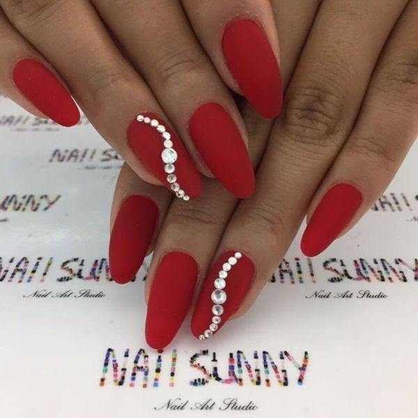 Czerwony Manicure Na święta Eleganckie Hybrydy Ze Złotem Srebrem I