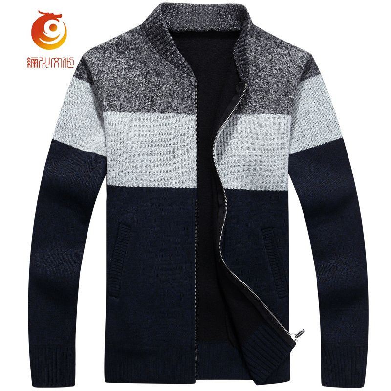 2017 New Brand Spring Zip Sweaters Men Mandarin Collar Knitted ...