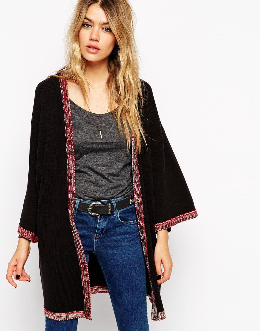 ASOS Longline Kimono Cardigan With Embroidered Tipping | Fashion I ...