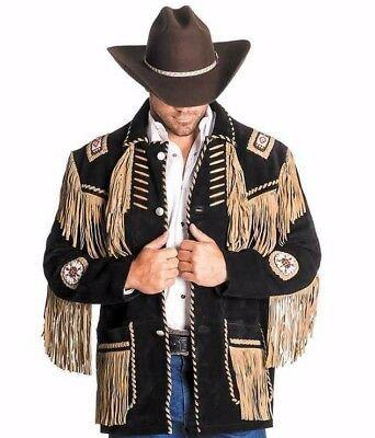Men/'s Traditional Cowboy Western Leather Jacket coat With Fringe Bone and Beads