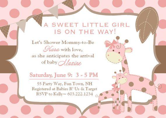 giraffe baby shower invitation polka dots girl pink brown, Baby shower invitations