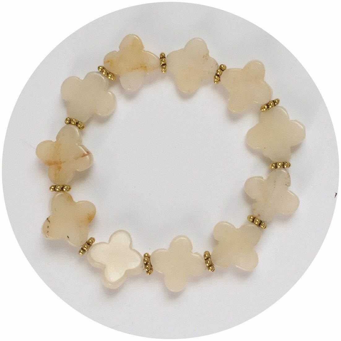 Yellow Onyx with Gold Daisies