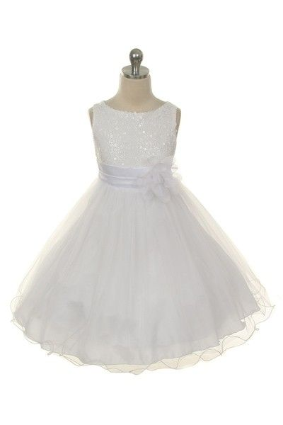 (The sequins might be too much...but in white, they're not super-showgirly) White Sequinned Bodice Dress - High Quality