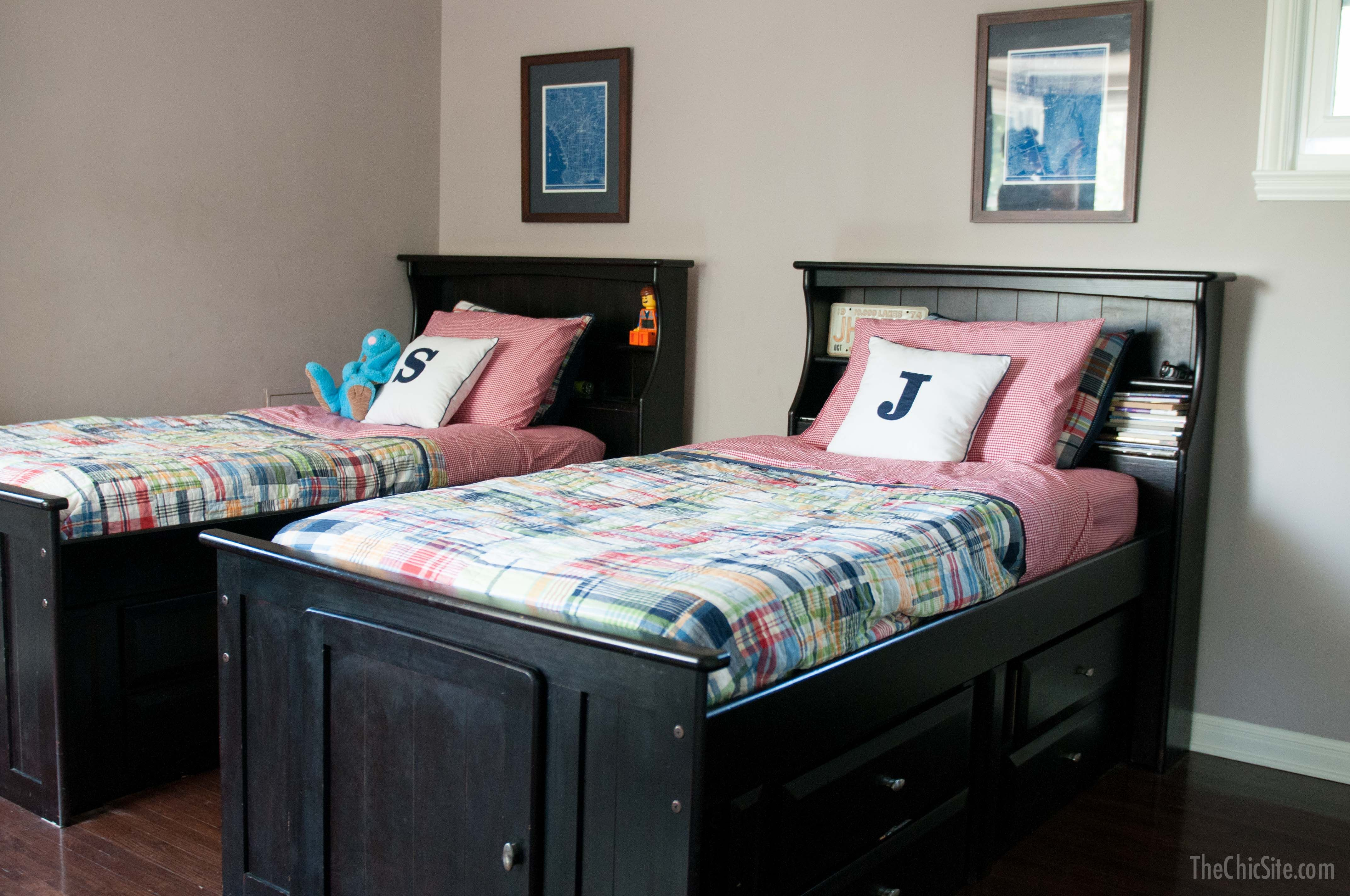 boys bedroom monogram pillows twin beds and kids rooms