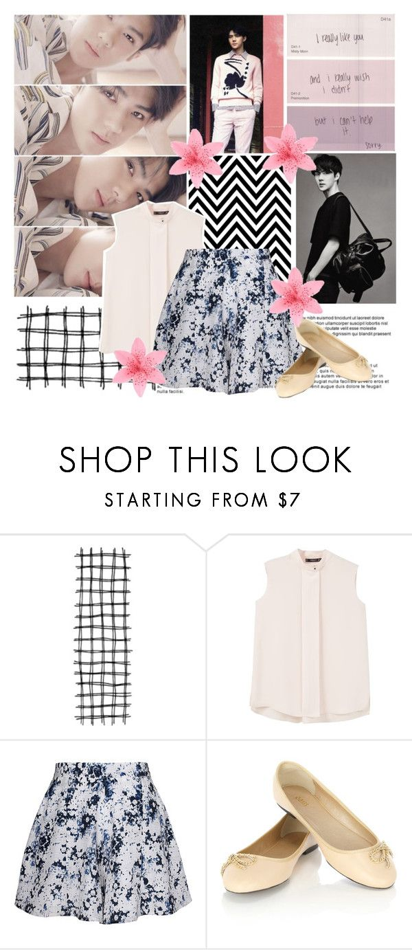 """~ simple"" by small-lullabies ❤ liked on Polyvore featuring MCM, MANGO, Olive + Oak, Oasis, skirt, flats, Tank, EXO and Sehun"