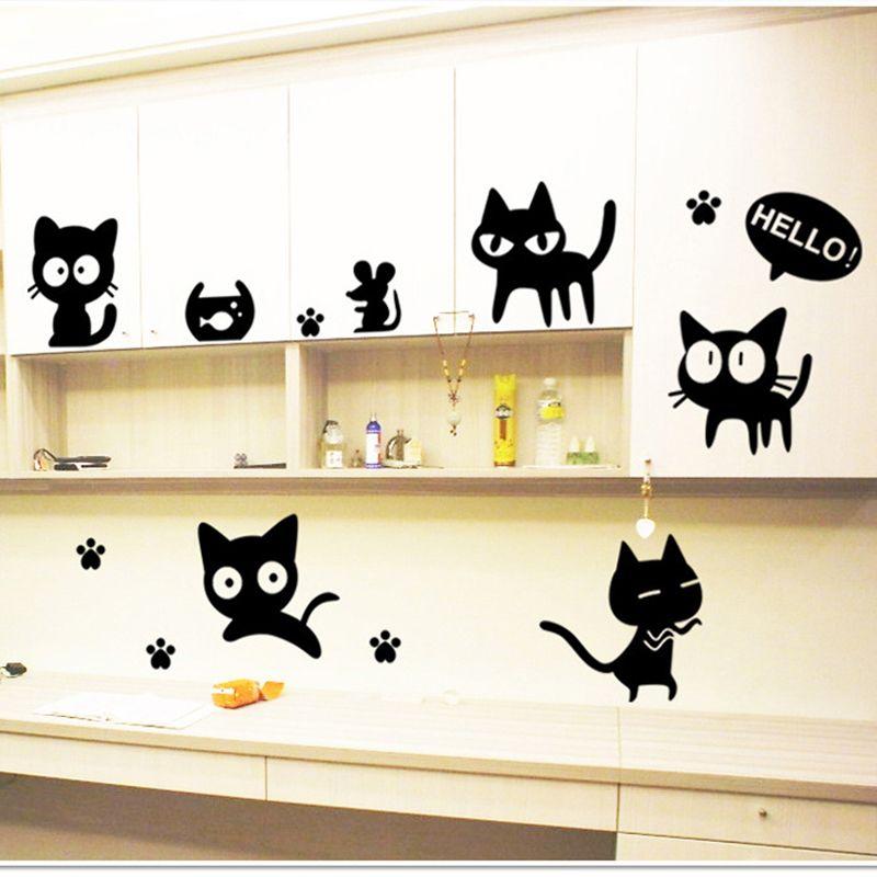Barato 5 pçs/set Cat removível DIY interruptor adesivos de parede ...