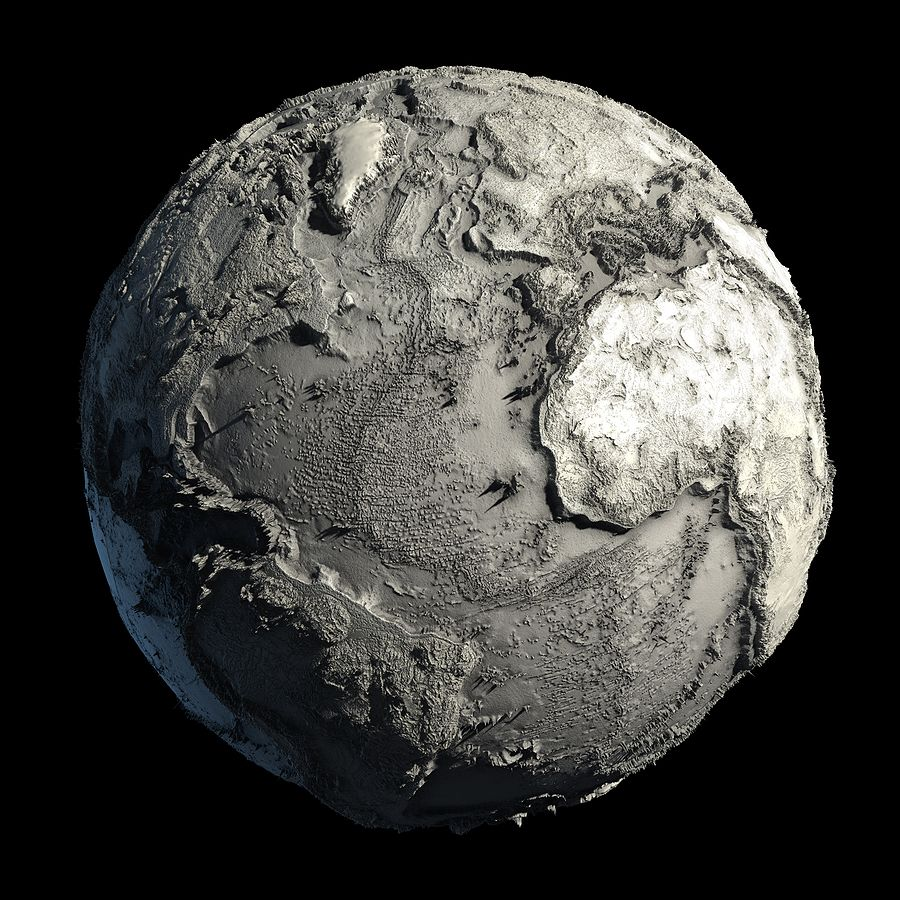 This is what Earth's relief looks like without the Oceans #sciencehistory