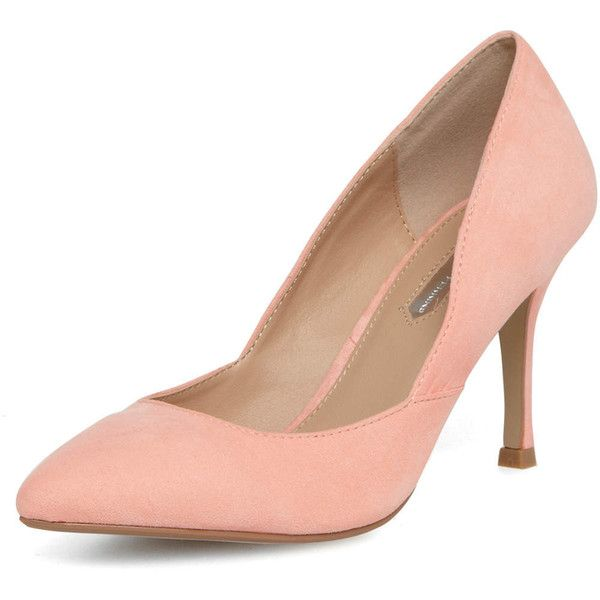 Dorothy Perkins Peach mid heel pointed court shoes ($39) via Polyvore