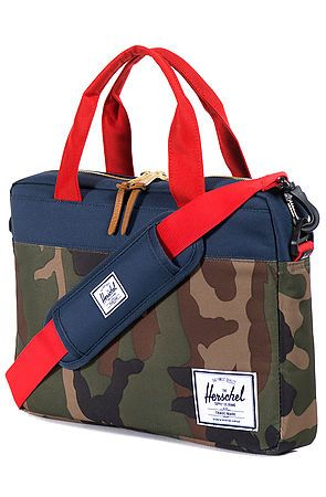 The Hudson Messenger Bag in Woodland Camo, Navy, & Red