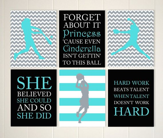 Basketball girl softball room decor softball gift for teen girl set of 6 choose your colors and sports by PicabooArtStudio  sc 1 st  Pinterest & Basketball girl softball room decor softball gift for teen girl ...