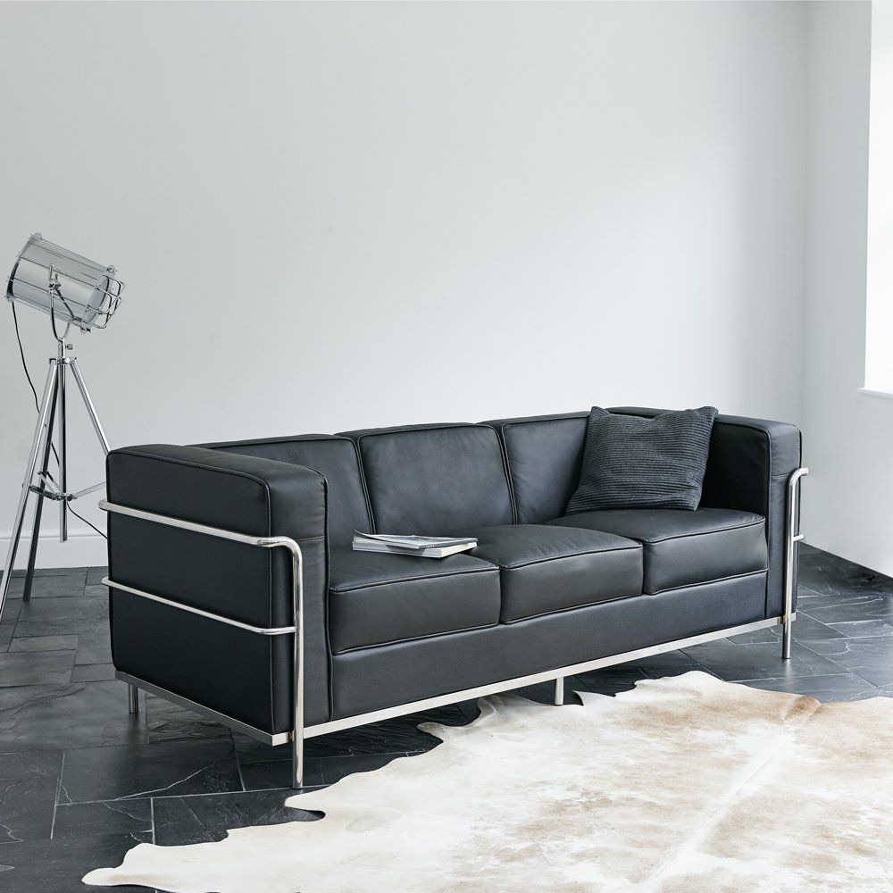 wallace sacks le corbusier lc2 inspired 3 seater sofa. Black Bedroom Furniture Sets. Home Design Ideas