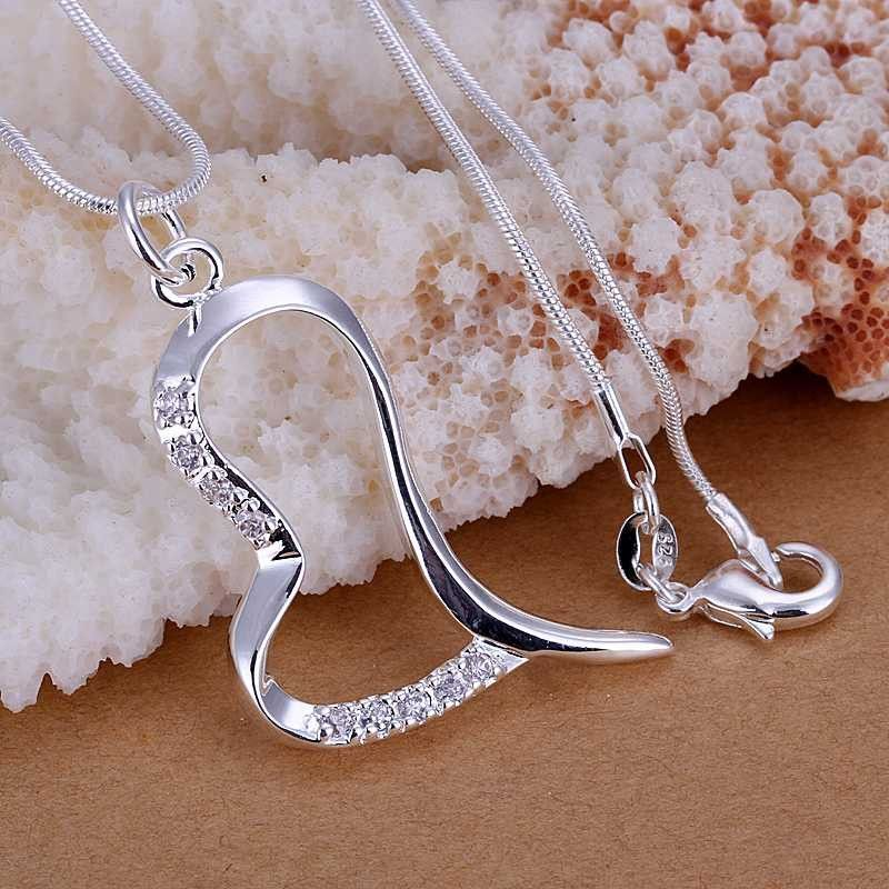 New silver plated crooked heart pendants women wedding pendant jewelry