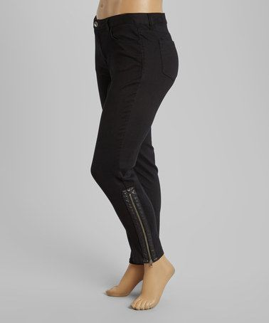9dee8c472325d Another great find on #zulily! Black Ankle-Zip Pants - Plus by BACCINI  #zulilyfinds