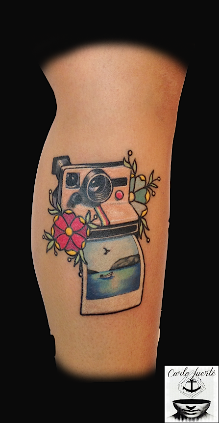 The Placement Here Isn T Super Great But The Design Is So Cute Camera Tattoos Tattoos Traditional Tattoo