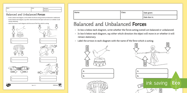 New Balanced And Unbalanced Forces Homework Activity Sheet