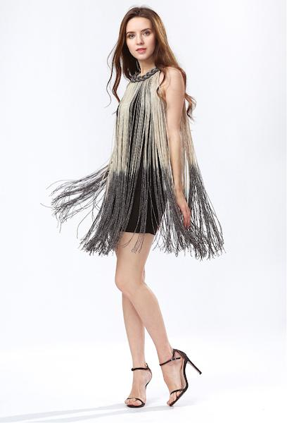 e82f93c2c0211 Lady Tank Ombre Draping Costume Metal Chain Neck Gradient Tassel ...