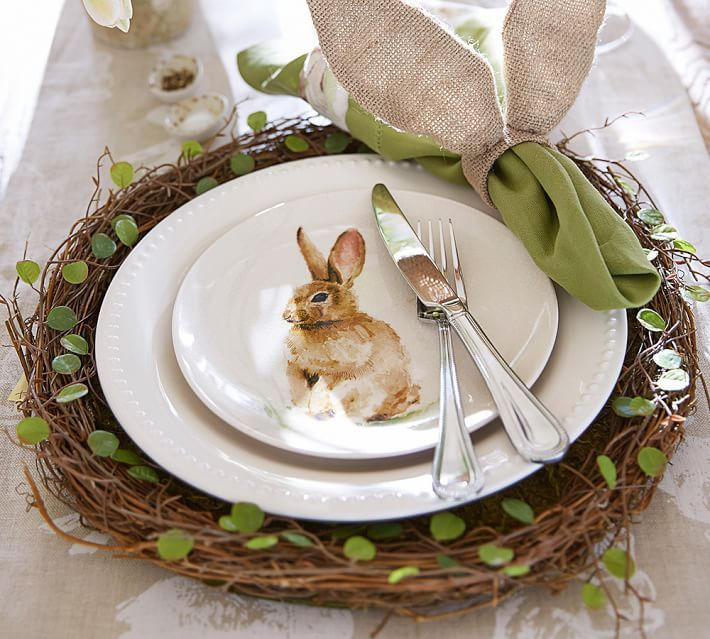 Easter Table Setting with Twig Charger and Bunny Plates   Pottery ...